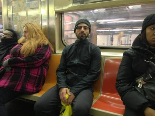 google-man-subway