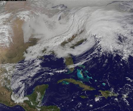 Handout photo of winter storms over the northeastern United States courtesy of NOAA