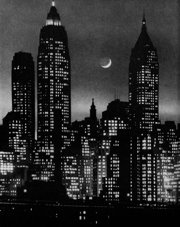 Crescent moon rises between Manhattan skyscrapers, 1946