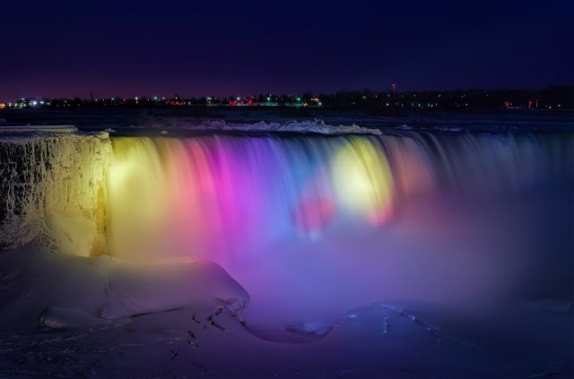 Frozen Niagara Falls Light Show